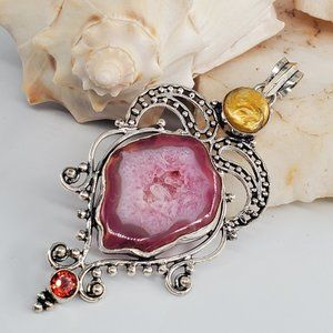 Natural Agate Red Quartz Silver Pendant Necklace